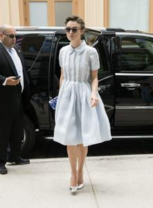 Keira Knightley arriving at a downtown hotel in New York City 06-26-2014
